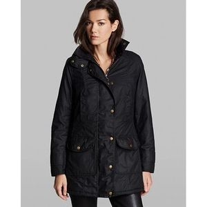 Barbour Squire Black Quilted Waxed Cotton Jacket 4